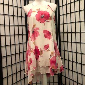 Peach Royal M White Pink Floral Sundress